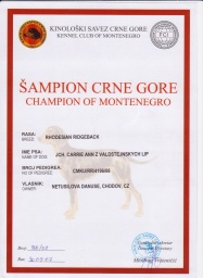 Champion of Montenegro Carrie Ann